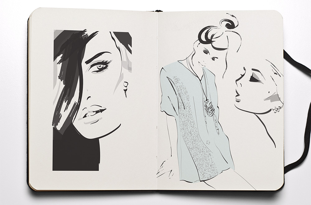 Fashion sketchbook illustrations