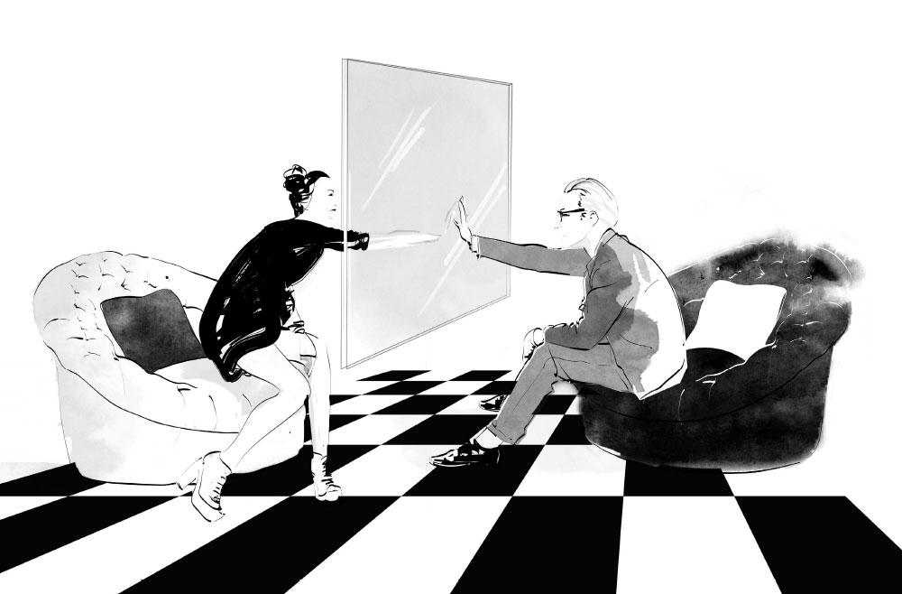 black & white visualisation for Prada