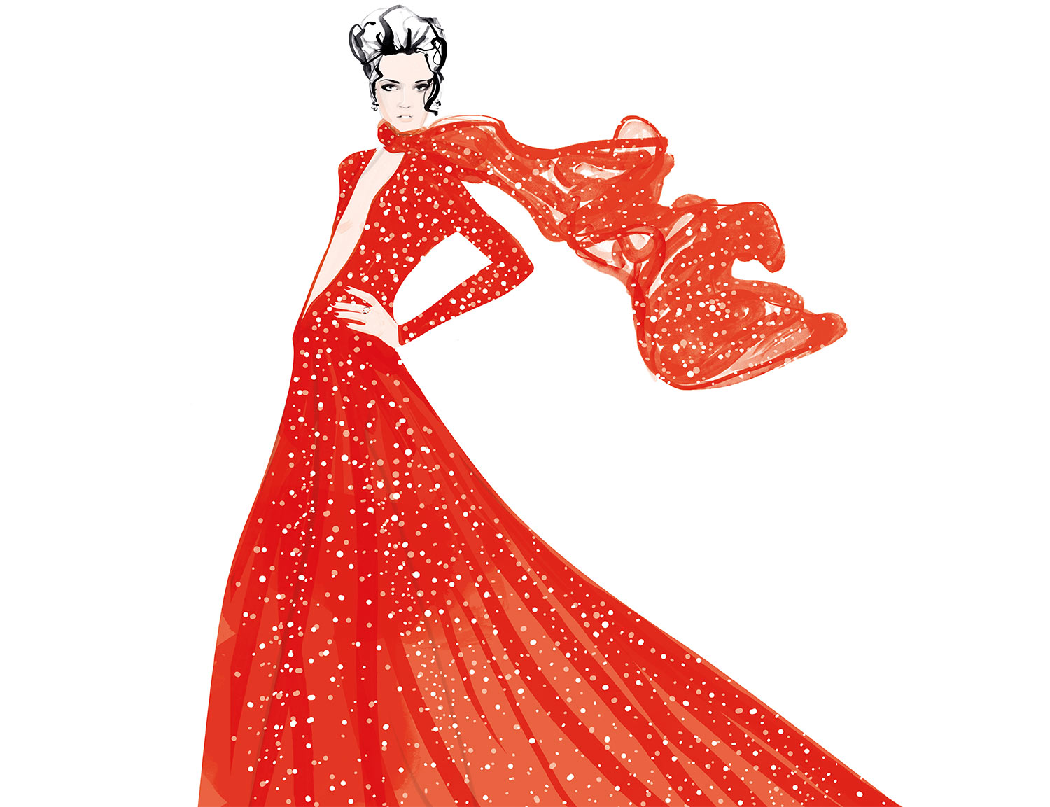 Red Dress Fashion illustration promo cards