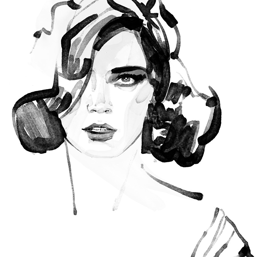 Loose ink fashion illustrations for inktober day 17
