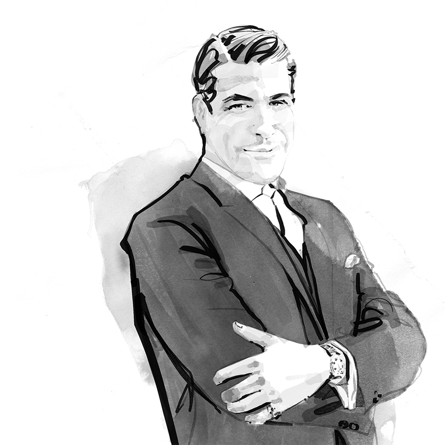 Inky B&W mad men portrait illustrations of Salvadore Romano day 25 for Inktober