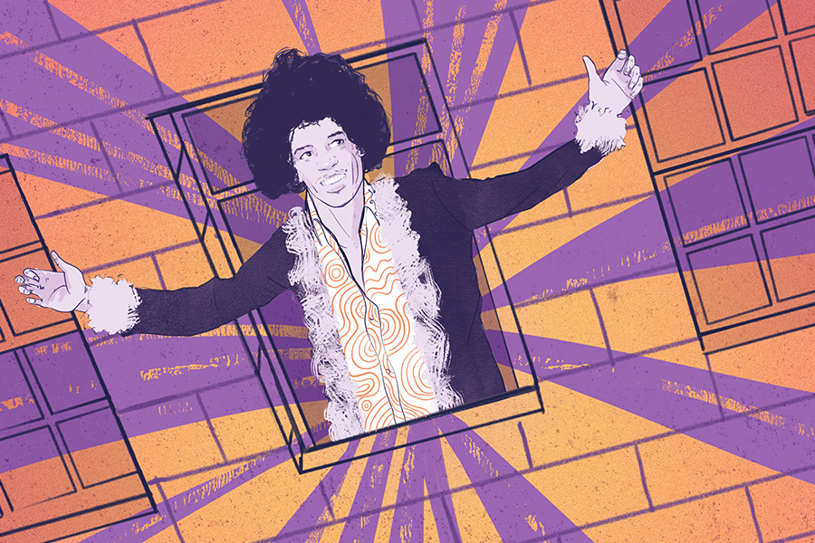 A Jimi Hendrix illustration close up part of the Transport for London Prize for Illustration entry by Matt Richards