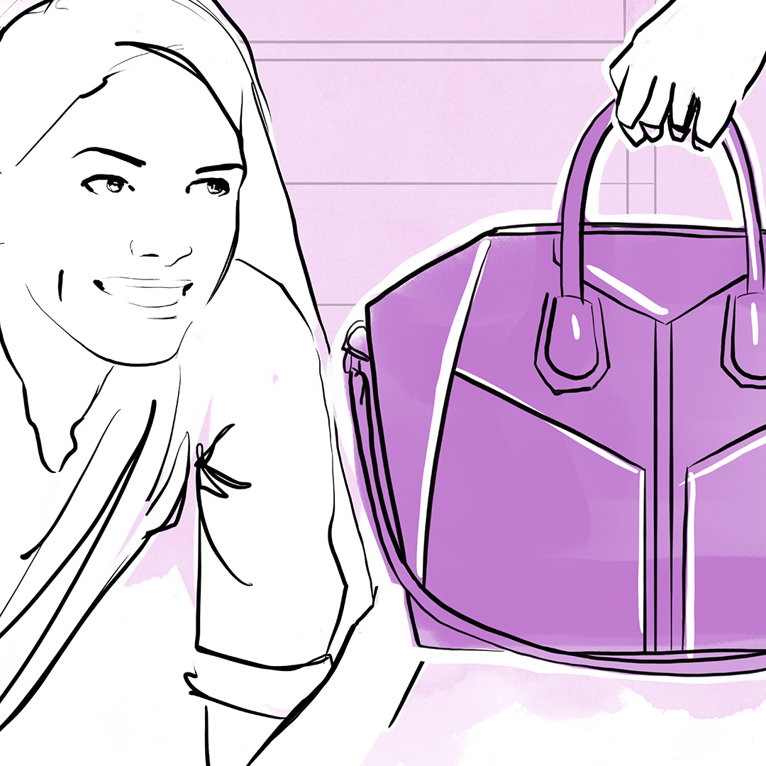 A 2D visualisation of a woman looking at a designer handbag for an e-commerce experience concept