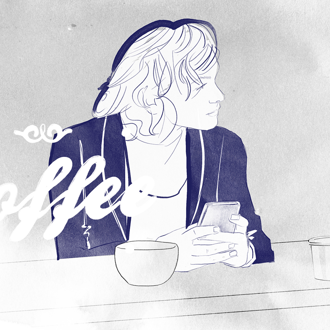 A 2D visualisation of a woman holding her phone in a coffeeshop, looking out the window - MattRichardsIllustration.com