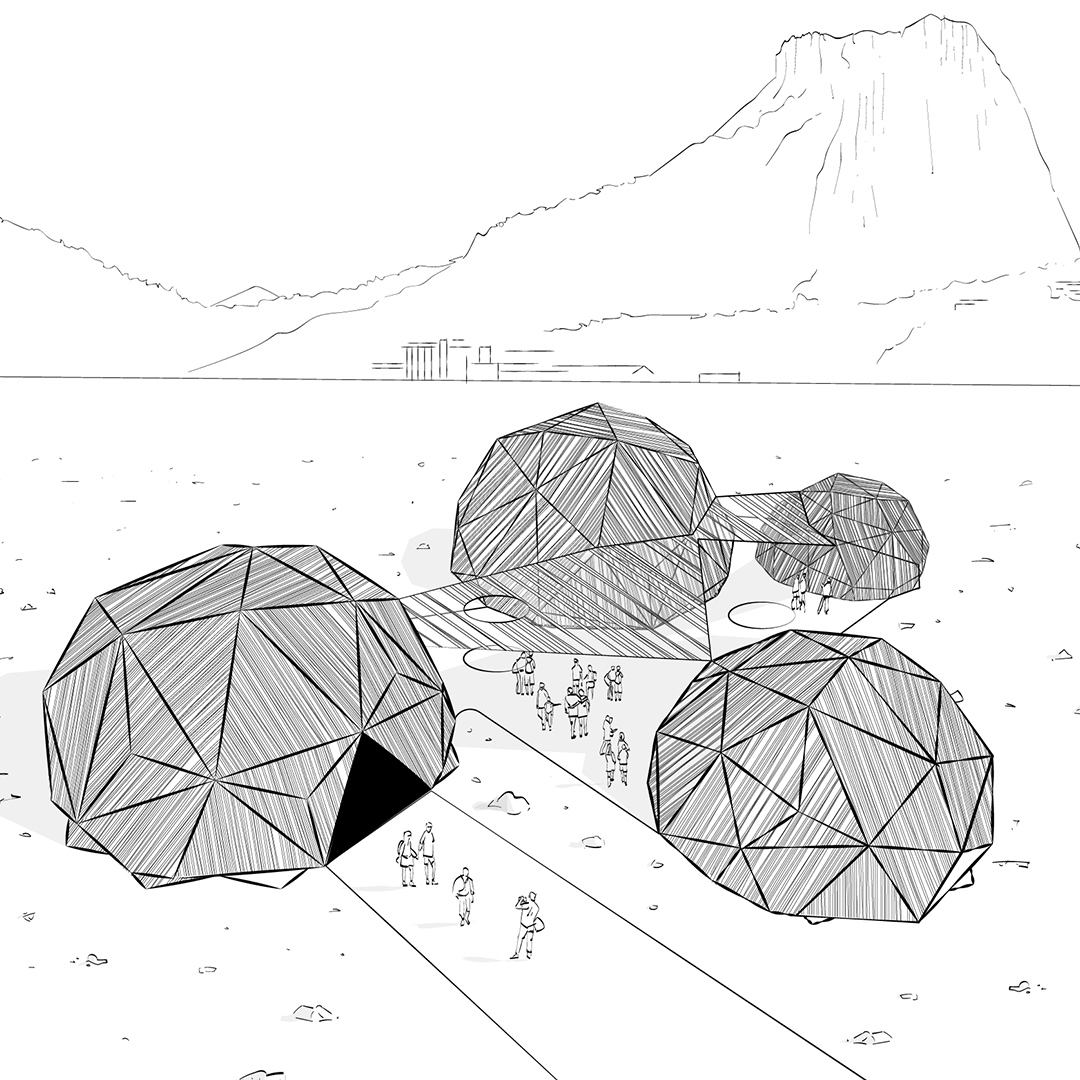 A Black & White 2D Visualisation of an domed architectural concept