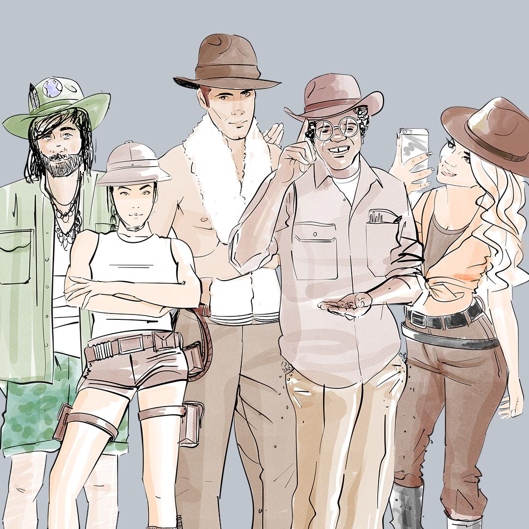 2D visualisation of some jungle explorers - character development