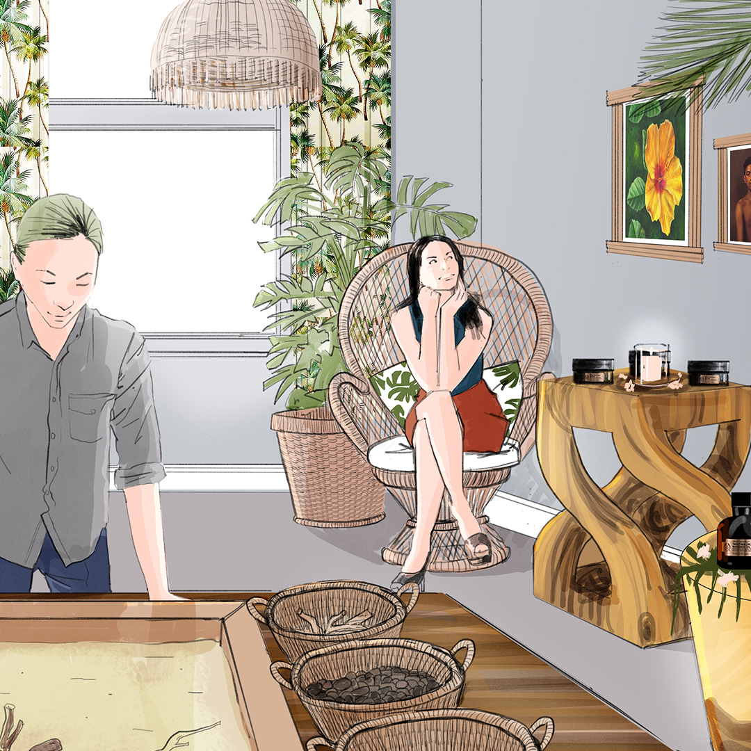 A Colour 2d Visualisation of women in a room decorated with a tiki interior - use for an International Beauty & Cosmetics Brand product launch concept