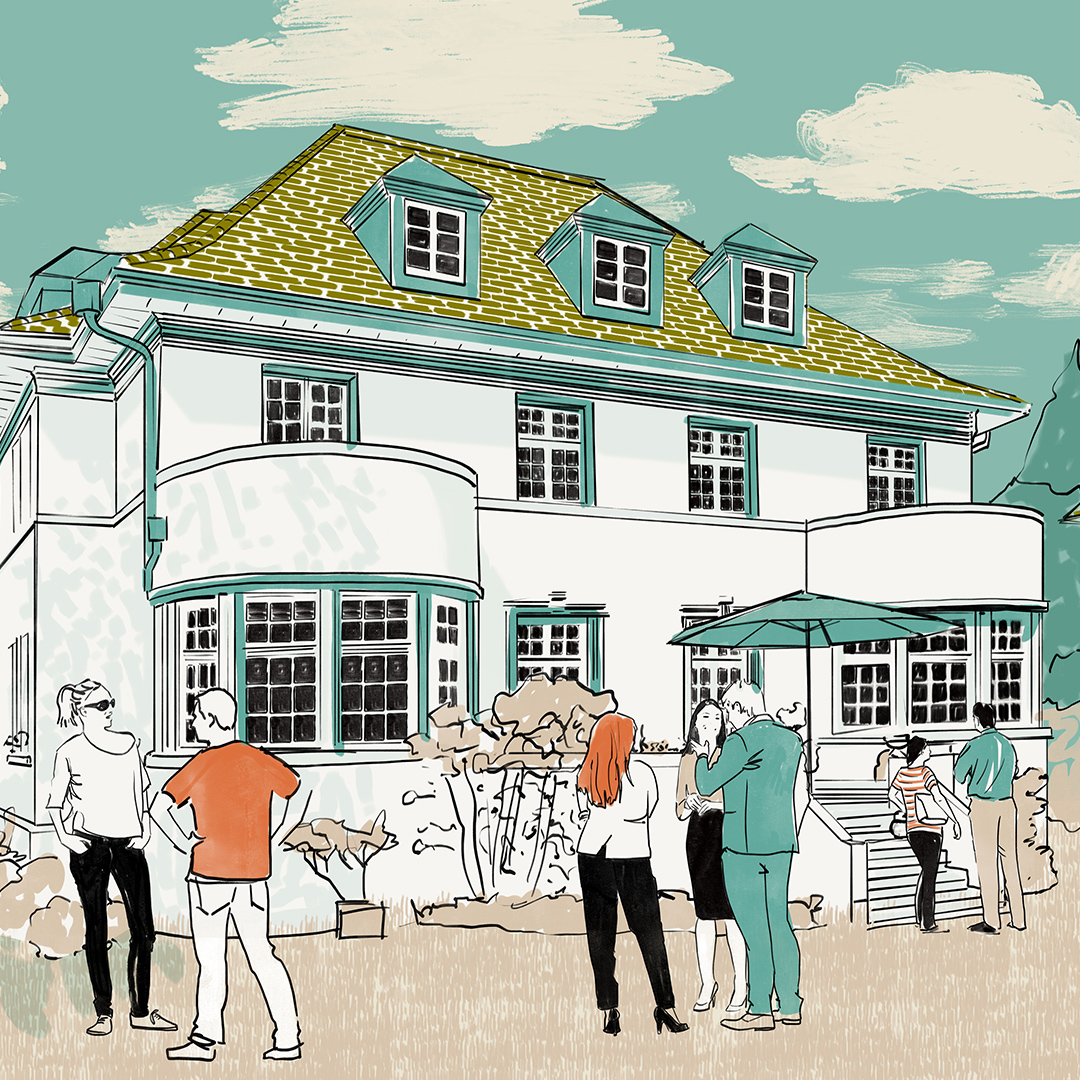a colourful 2d visualisation of a large house with people outside