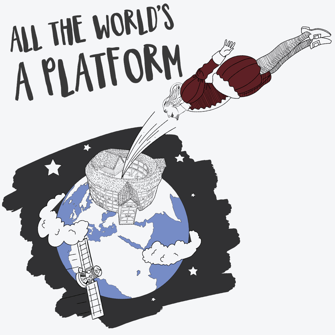 A 2d visualisation of Shakespeare flying into a large globe theatre on top of the planet earth - concept visuals - MattRichardsIllustration.com