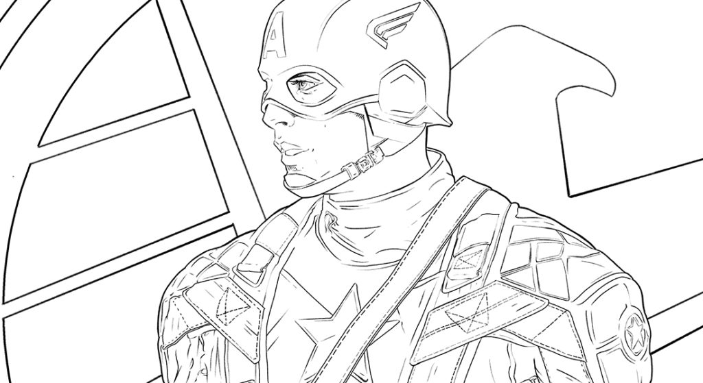 B&W DRAWING OF CAPTAIN AMERICA