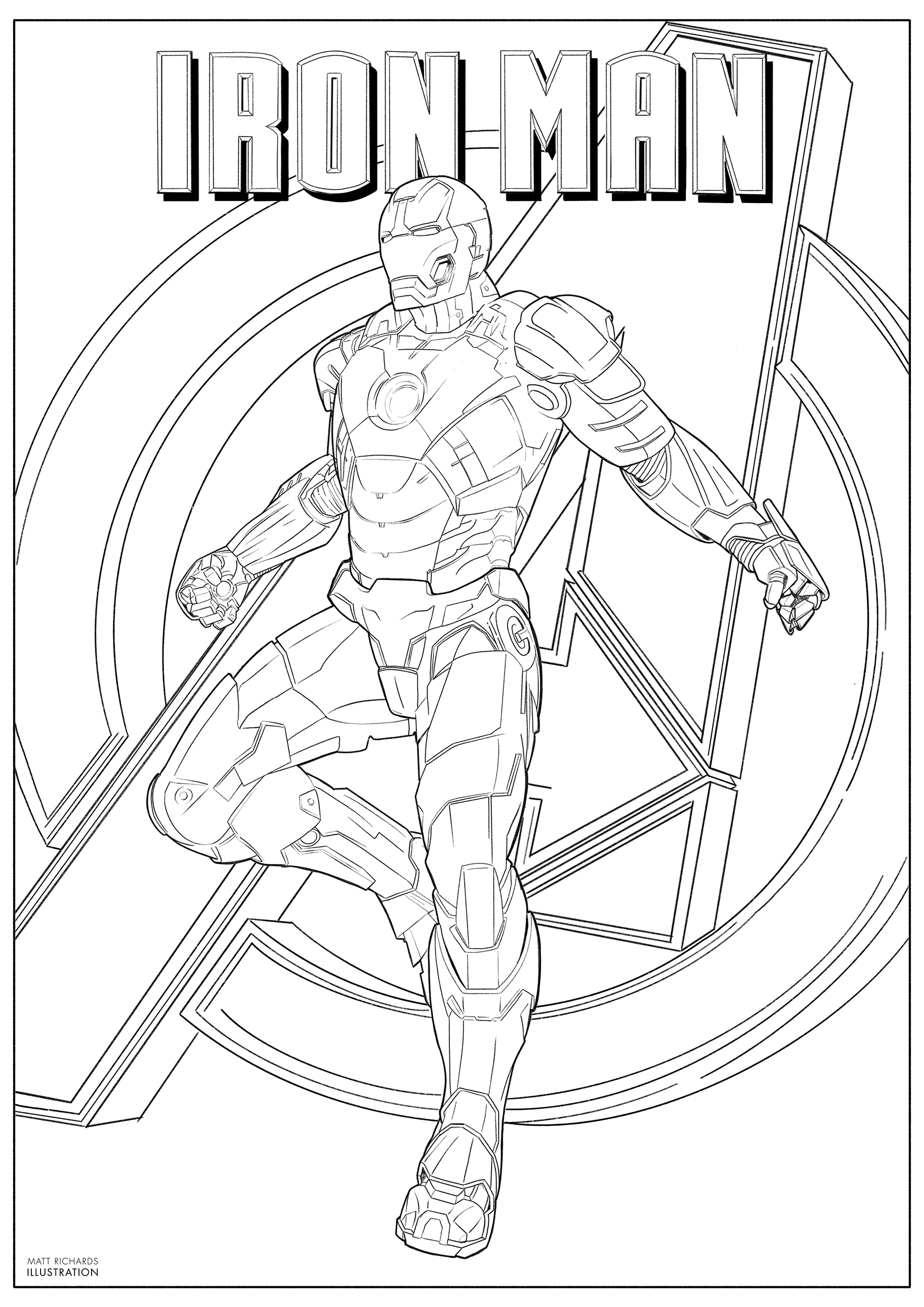 colouring in Iron Man poster