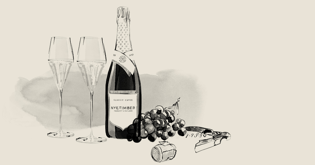 Illustration of a bottle, two glasses & cork for an illustrated animation for Nyetimber